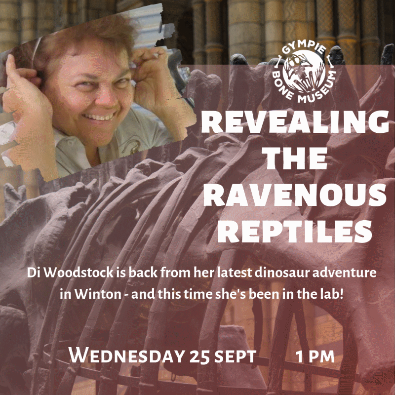 revealing the ravenous reptiles live stem talk with di woodstock at gympie bone museum